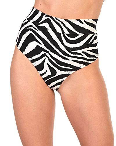 iHeartRaves Zebra Zen Thong Bottom Booty Shorts (Black/White, Small) ()