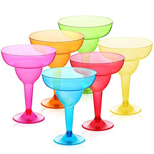 36 Pack Plastic Margarita Glasses Cups 12 oz, Disposable Cinco De Mayo Cup, Fiesta Taco Party Supplies, Neon Cocktail Cups - Mexican Theme for Carnivals Festivals, Dia De Muertos