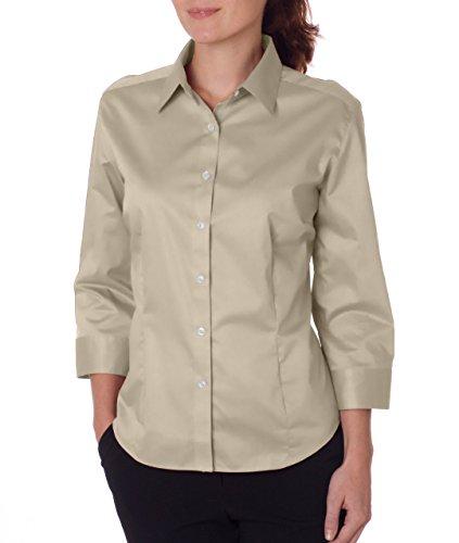 (VAN HEUSEN V0527 Ladies' 3/4-Sleeve Dress Twill - Sandstone - XX-Large)