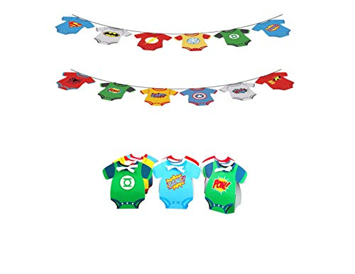 Superhero Comic Baby Party Banner and 12 Onesie Treat Favor Gift Boxes Marvel Avengers Justice -