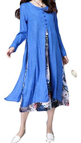 Cruiize Womens Impression Occasionnel Épissures Manches Longues Bleu Paon Faux Deux Robe Lâche Fente