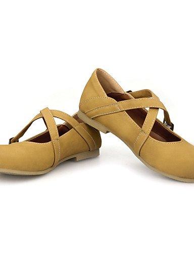 PDX/ Damenschuhe - Ballerinas - Büro / Kleid / Lässig - Kunstleder - Flacher Absatz - Rundeschuh - Braun / Gelb / Khaki khaki-us9.5-10 / eu41 / uk7.5-8 / cn42