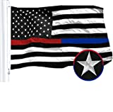 Cheap G128 – Thin Blue Line Police & Thin Red Line Firefighter Embroidered 3X5ft U.S. American Flag Brass Grommets Respect Honoring Law Enforcement Officers First Responder USA Flag