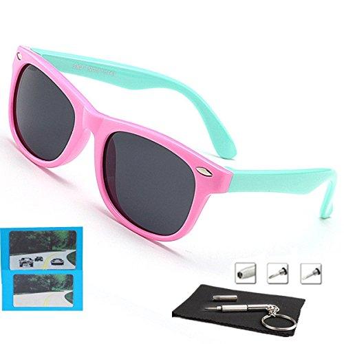 c8a8c1553010 Galleon - Kids Sunglasses For Kids Polarized Sunglasses Girls Child Boys Age  3-10 (Rubberized Pink  cyan