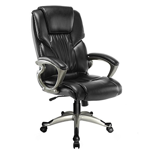 Mecor Ergonomic High Back Leather Office Chair Big and Tall Executive Swivel Chair with Arms Black Home by Mecor