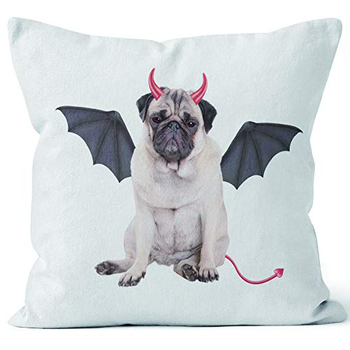 Nine City Devilish Cute Pug Puppy Dog Sits Dressed up as Devil for Halloween Sack Burlap Pillow,HD Printing Square Pillow case,18