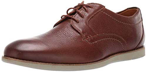 CLARKS Men's Raharto Plain Oxford Brown Tumbled Leather 100 W ()