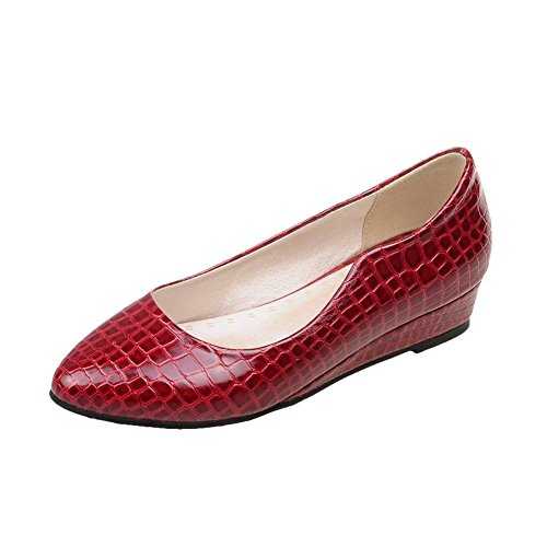 Show Shine Womens Fashion Hidden Wedge Heel Loafers Shoes Wine Red
