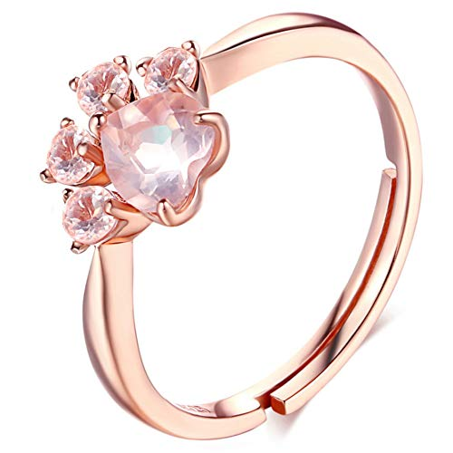Meow Star Cat Paw Ring Rose Gold Rings Pink Crystal Rings Cubic Zirconia Cat Ring for Women Cat Lovers (Rose Gold)