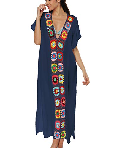 Women Crochet Long Bikini Cover Up Short Sleeve Kaftan Maxi Beach Dress Navy ()