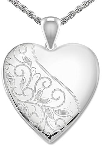 (US Jewels And Gems Women's 1in 0.925 Sterling Silver 2 Photo Scrolled Heart Locket Pendant 1.5mm Rope Necklace,)