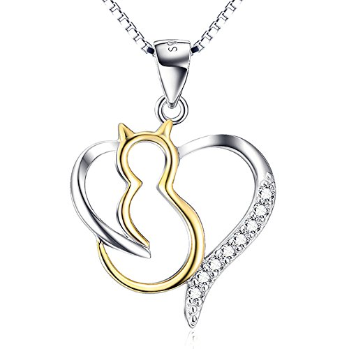 (ASTRO Jewellery Cat Necklace 925 Sterling Silver Jewelry Cubic Zirconia Heart Charm Necklace for Women)
