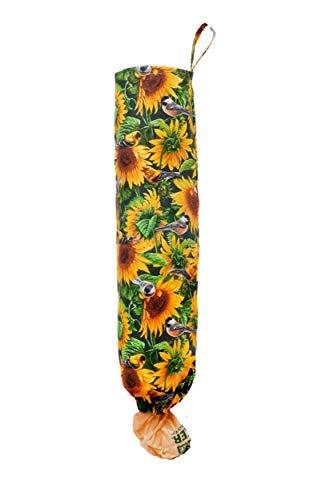 Plastic Bag Holder | Grocery Shopping Bag Organizer | Carrier | Dispenser. Handmade in the USA (Sunflower Birds-Cotton)
