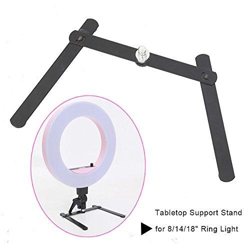 Portable LED Ring Light Desktop Stand Support Cellphone Bracket for Make up, Selfie, Live Webcast, YouTube, Facebook, Ins, Photography Video Shooting - Black
