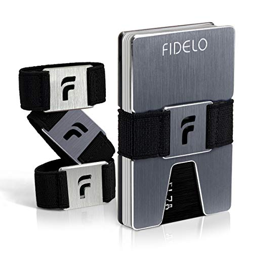 FIDELO Minimalist Wallet for Men - Slim Credit Card Holder Money Clip - RFID Blocking Front Pocket Mens Wallets. (North Wales Accent)