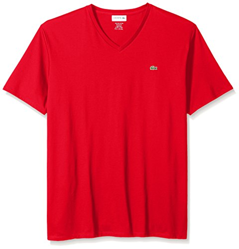 Lacoste Men's Short Sleeve V-neck Pima Cotton Jersey T-shirt, Red, XXX-Large