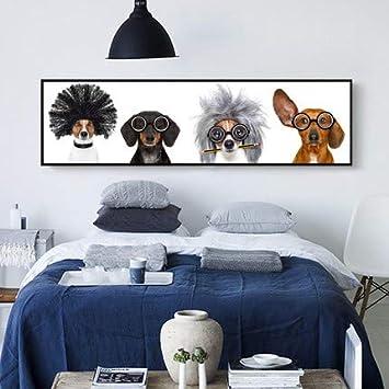 Moderno Simple Pintado Con Diamante 5D Punto De Cruz Dormitorio Junto A La Cama Animal Lindo Cachorro De Perro Show Diy Bordado De Diamantes, 120X50cm cm: ...