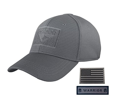 (Condor Flex Tactical Cap (Graphite) + FREE Gray PVC Flag Patch (S/M))
