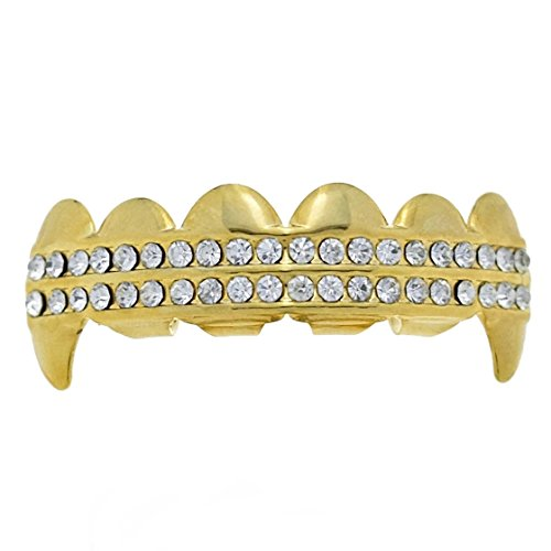 14k Gold Plated Dracula Fang Grillz Upper Top Teeth Vampire Hip Hop Iced-Out Mouth Grill (Gold Teeth Wax compare prices)
