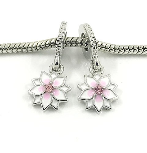 (2pcs Silver Peach European Charm Crystal Spacer Beads Fit Necklace Bracelet !)