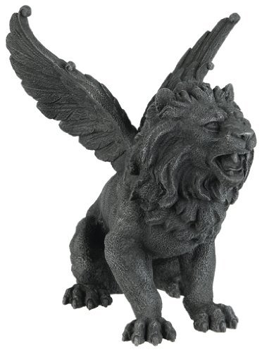 PTC 6.5 Inch Resin Medieval Winged Lion Gargoyle Statue Figurine (Lion Outdoor Resin Statues)