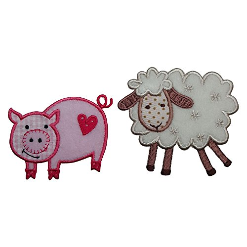Pig 7X6Cm Sheep 8X7Cm Iron-On Designer Patch Used For Fabric Gifts Crafts Jeans Clothing To Iron On Clothes Birthday Christening Birth Application Sports Football Club City Kids Sew On Plate - Uk Repairs Tiffany