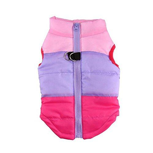 Delight eShop Cat Dog Winter Apparel Coat Jacket Pet Supplies Clothes Clothing Puppy Costume (M, Pink+Purple+Hot Pink) (Happy Halloween Waldo)