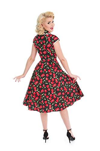 Schwarz amp; Kleid 50er Hearts Kirschen Roses Jahre Damen n4gwqd0qY