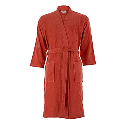 Cottonna Women's Turkish Cotton Bathrobe Kimono Style Knee Length Terry Cloth Robe