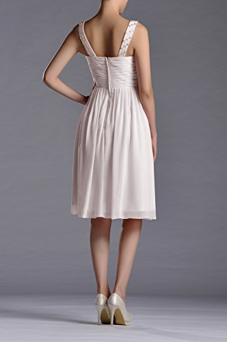 Neck a Women's Dress Natrual Chiffon Sleeveless Adorona V Straps Graduation Line Silver AfXx0