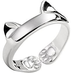 JEWME 925 Sterling Silver Jewelry Kitty Cat Paws Ears Open Tail Knuckle Ring Women
