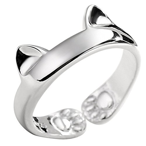 JEWME 925 Sterling Silver Jewelry Kitty Cat Paws Ears Open Tail Knuckle Ring (New Sterling Silver Cat Ring)