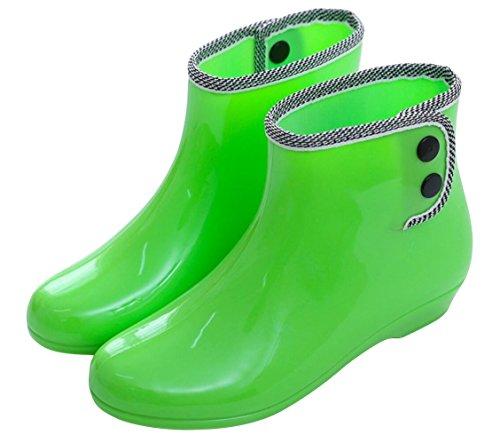 Boots Rain Rain SHOCK Top Shoes ACE High Work Women Antiskid Cute Footwear Waterproof Green C4nwzq8p