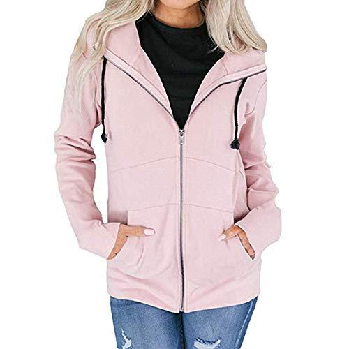 Cerniera Sweatshirts Da Outwear Giacche Con Cappuccio Warm Rosa Coat Donna Cardigan Hellomiko CpZgqSw