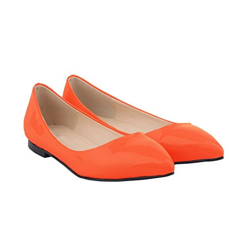 Meijunter Womens Shallow Mouth Pointed Leather Pumps Shoes Candy Color Flat Shoes