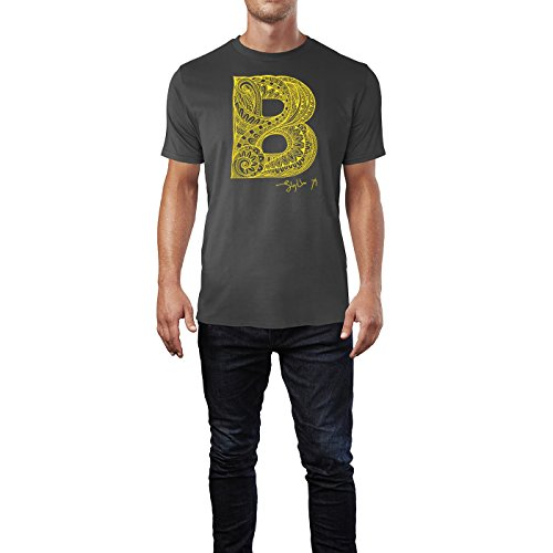 SINUS ART ® Dekorativer Buchstabe B Herren T-Shirts in Smoke Fun Shirt mit tollen Aufdruck