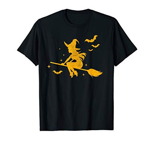 Witch Riding Broomstick Halloween Costume Men Women Gift T-Shirt ()
