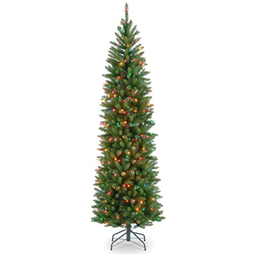 National Tree 7 Foot Kingswood Fir Pencil Tree with 300 Multicolored Lights, Hinged (KW7-313-70) (7 Ft Pre Lit Cashmere Pencil Tree)