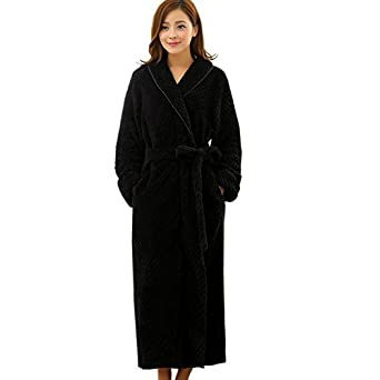 Teenloveme Womens Shawl Collar Soft Fleece Bathrobe Dressing Gown 1516Black  S M f3e357b13