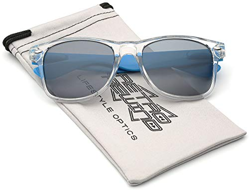 Colorful Two Tone Sunglasses - Crystal Clear Translucent Frame with Color Mirror Lens - Clear & Blue
