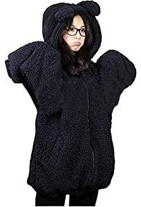 DD2 Womens Teddy Bear Ear Coat Hoodie Hooded Jacket Fleece Warm Baggy Outerwear Black