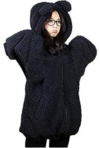 DD2 Womens Teddy Bear Ear Coat Hoodie Hooded Jacket Fleece Warm Baggy Outerwear Black
