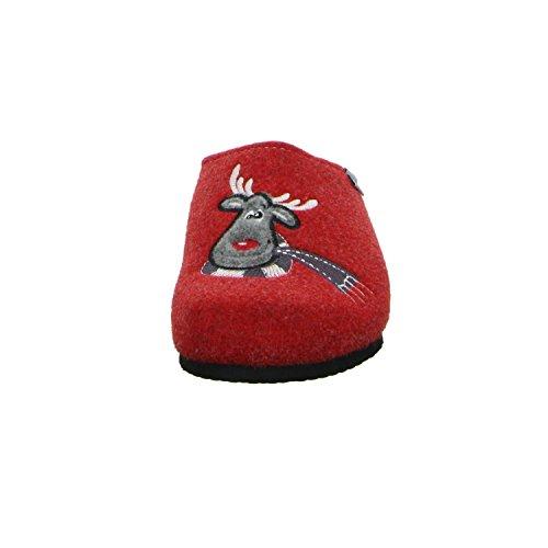 Tofee Hausschuh Rudolph Damen Naturwollfilz Rot Rot (Rot)