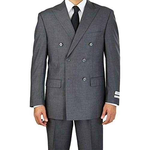 Mens Grey Double Breasted 6 Button Classic Fit Suit New(54R/48W Regular)