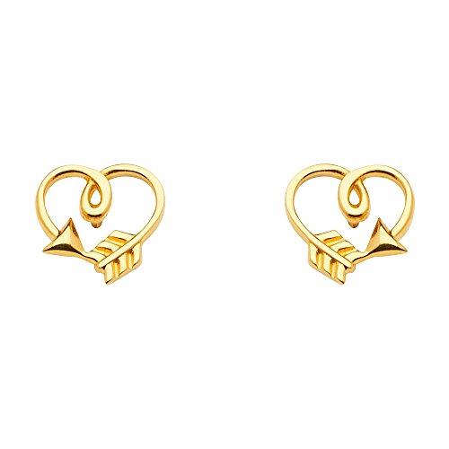 14k Yellow Gold Arrow Heart Earrings with Push Back (8 x 8 mm)