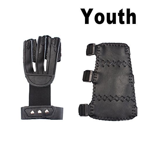 AMYIPO 3 Finger Protective Glove & 3 Straps Arm Guard (Black-for Youth, 2-Piece Set)