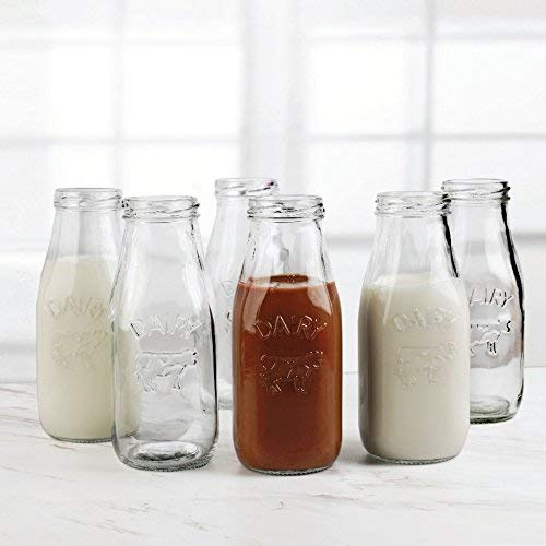 Beer and Bar Liquor Dining Decor Beverage Gifts 10.5 oz Dairy Cow Set Set of 6 6pc Drinking Glasses Glassware for Water Juice Circleware 92039 Country Milk Bottles