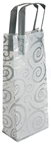 Frosty Plastic Wine Gift/Shopping Bag with Handles by MT Products (Pack of 12) ()