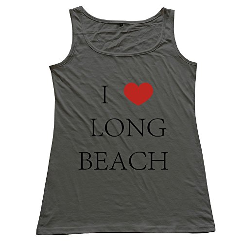 I Love Longbeach Womens 100% Cotton Tank Tops DeepHeather (Advance Wars Shirt)