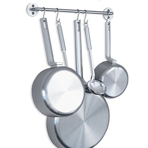 WALLNITURE Gourmet Kitchen Pot Pan Lid Rack with Hooks Steel Silver 16 Inch